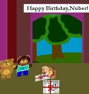 Nuber opens his gifts from the bears